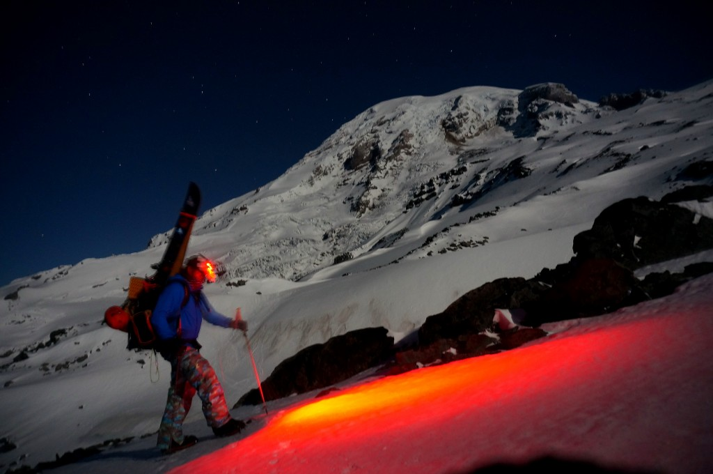Climbing Rainier under a full moon. Photo: Ben Stone
