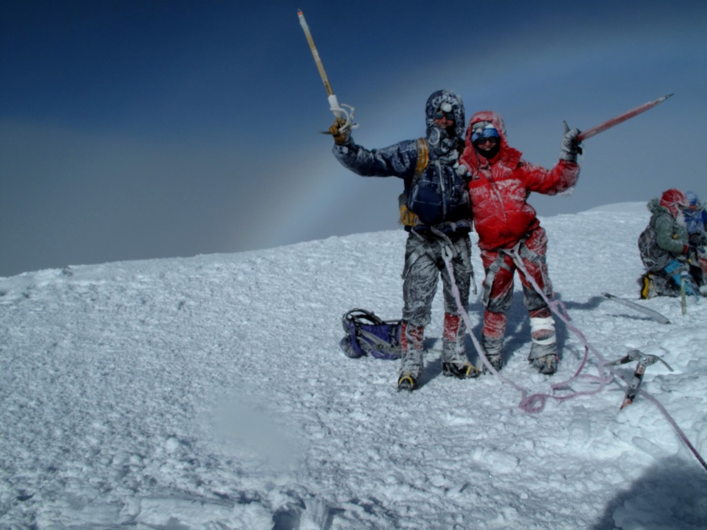 Kelly Steele and Me on the Summit of Cotopaxi (~19,400 Feet), Ecuadorian Andes.