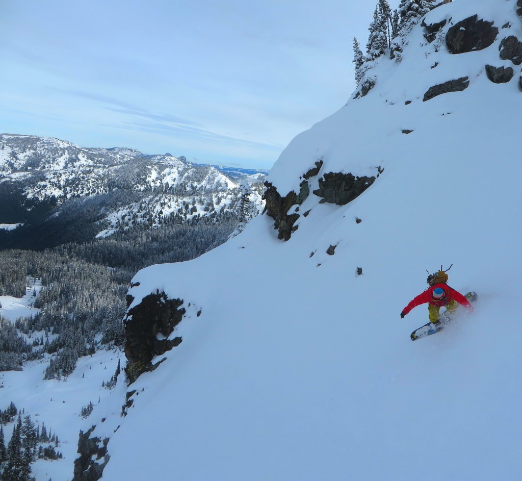 Jeff Steele Dropping Steeps in the Cystal Mountain Backcountry Photo - Kelly Steele