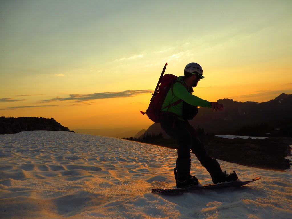 Jesse Descending the Flett Glacier at Sunset, Photo - Jeff Steele