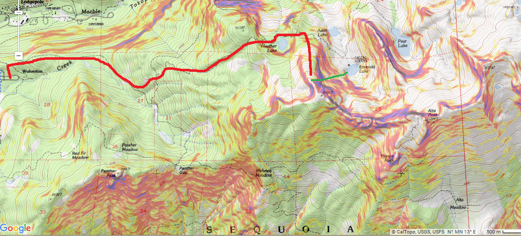 "Route up the ""Hump"" and ""Soccer Field"" in red; Couloir in green"